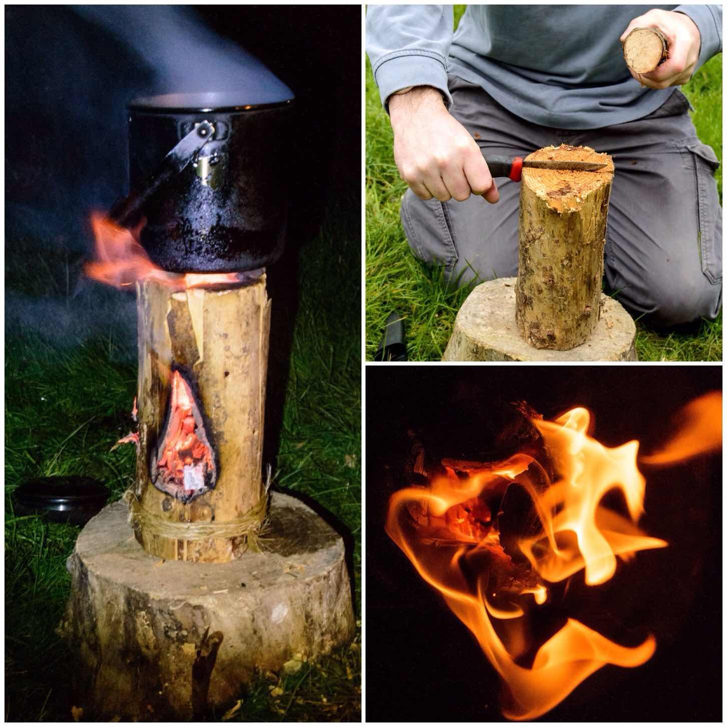 How To…. Build a Log Rocket Stove – No Axe – Bushcraft Days