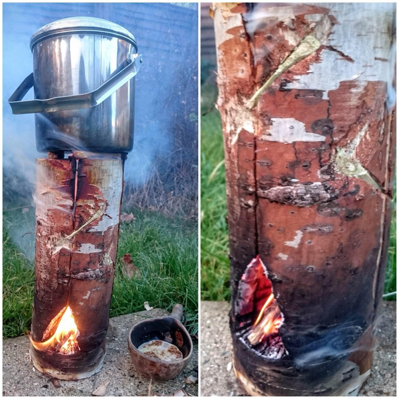 Dovetail Log Rocket Stove
